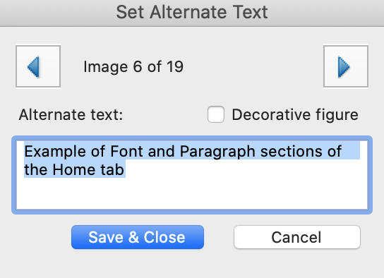 """Acrobat """"Set Alternate Text"""" dialogue with a field containing sample text in a field. The dialogue includes buttons for next figure, marking """"Decorative,"""" and saving changes."""