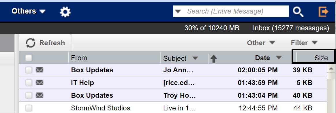 Screenshot of Inbox showing the Size field highlighted.
