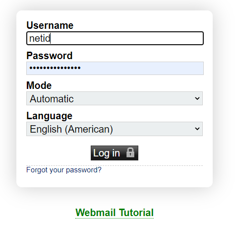 Screenshot of the login box where you enter username and password.