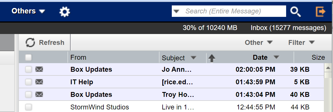 Four example messages in an Inbox that show: From, Subject, Date and Size for each message.