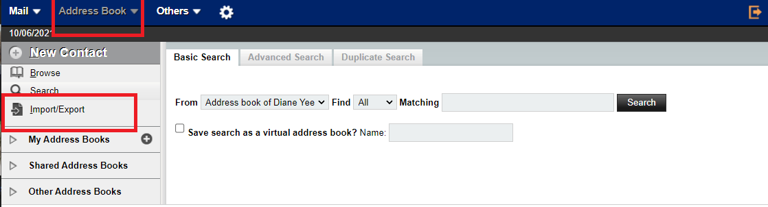 Select address book and import / export