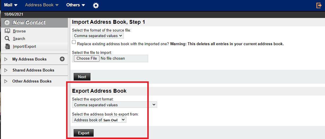 Export Address Book