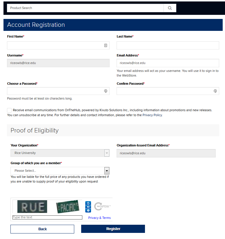 Registration form for On the Hub