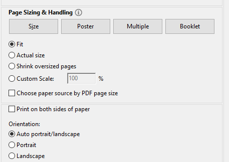 paper sizing and orientation