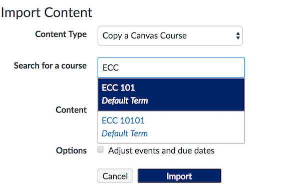 Select course to copy