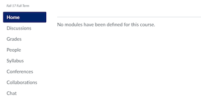 Modules home page with message that reads 'no modules have been defined for this course'