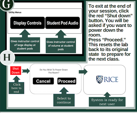 Options for Instructor to control the student pod display and audio level. Directions for exiting the system to be ready for the next class.""
