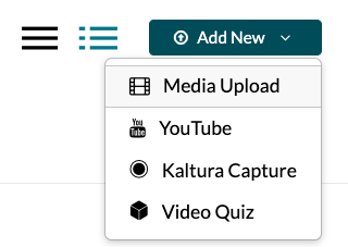 Add New Button in Kaltura My Media page