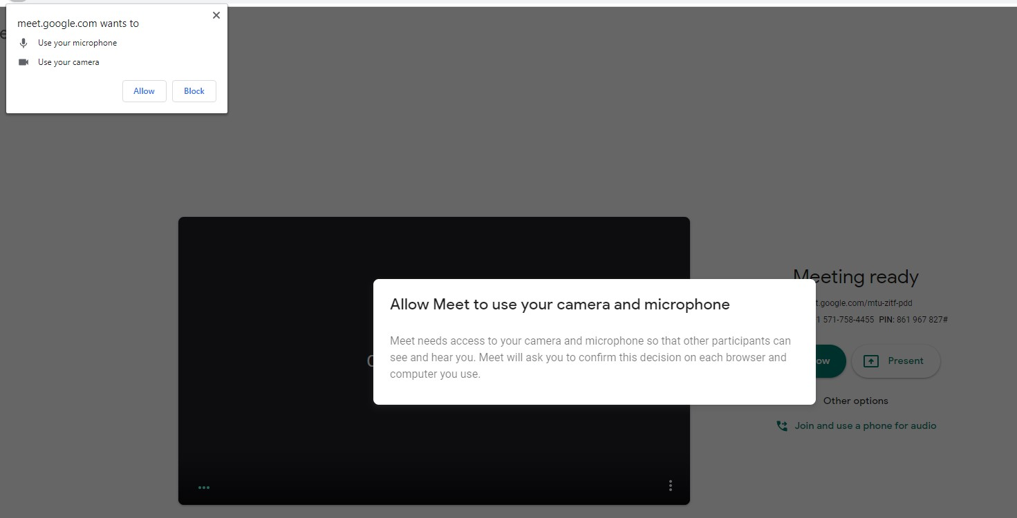Meet.google.com want to use your microphone and use your camera. Select allow.