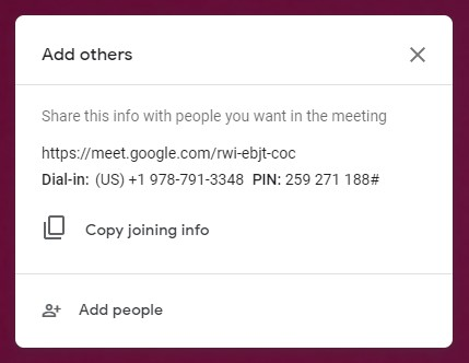 The Add others dialog box allows you to send email invitations to participants by selecting Add People.