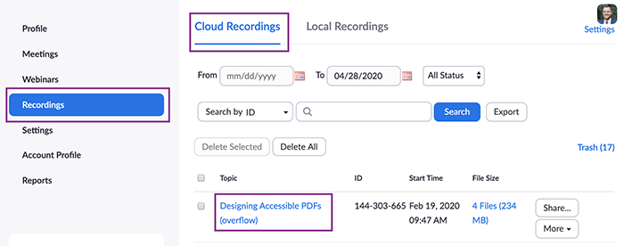 Zoom Cloud Recordings in web interface with a recording topic highlighted.