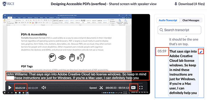 Zoom video player with closed captions and timestamp highlighted to show synchronicity with righthand transcript panel.