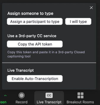 Zoom meeting buttons, enable auto-transcription.