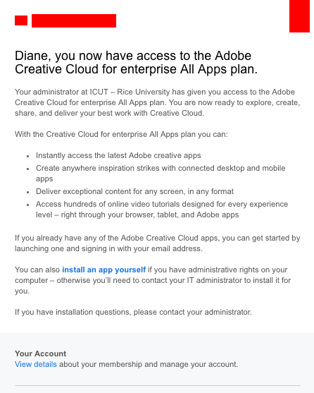 Adobe Creative Cloud Email