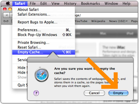 Clearing browser cache in Safari