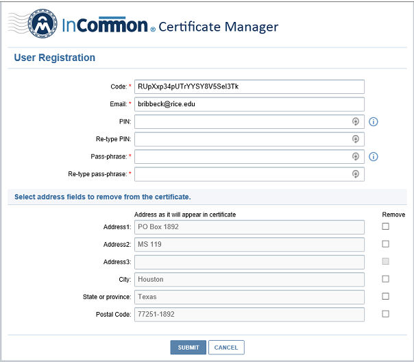 Certificate Magager Screen 1