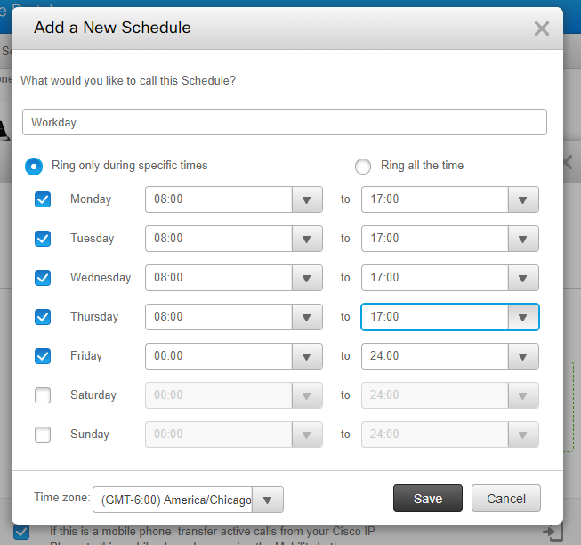 Add Workday Schedule