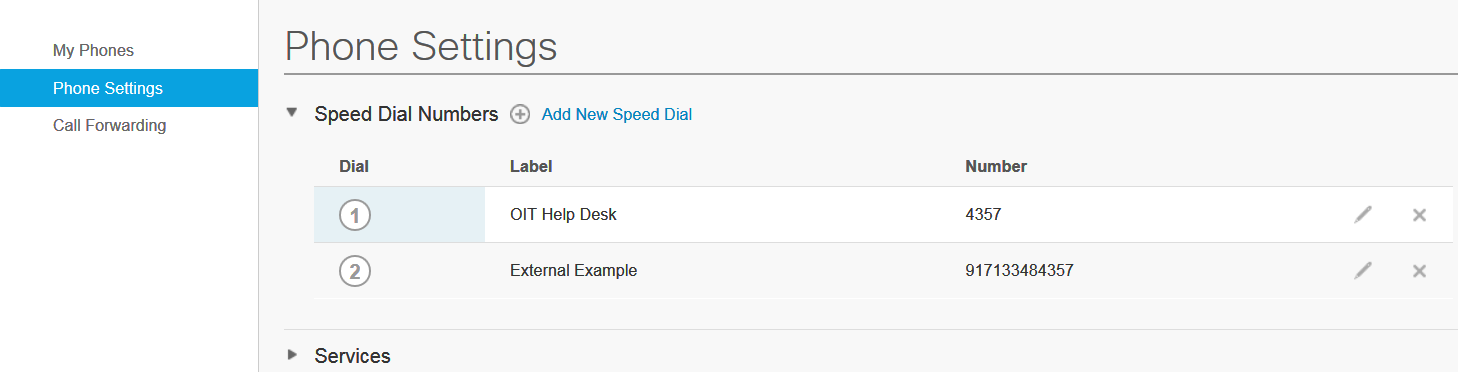 speed dial list in portal