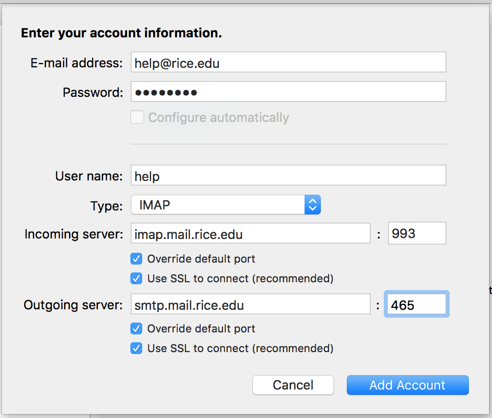 IMAP Account Information