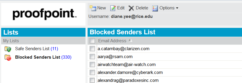 Blocked Senders List