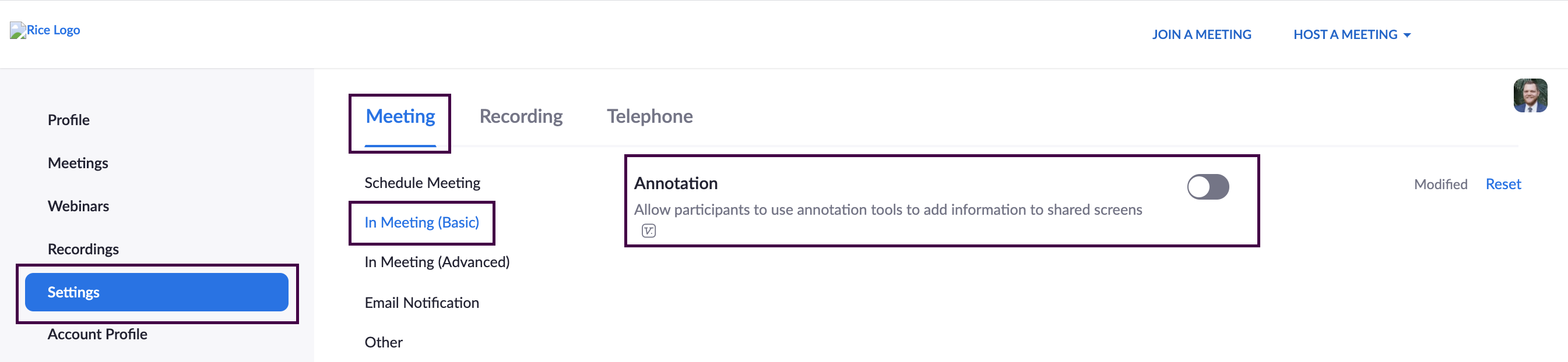 Zoom meeting settings with 'Annotation' disabled.
