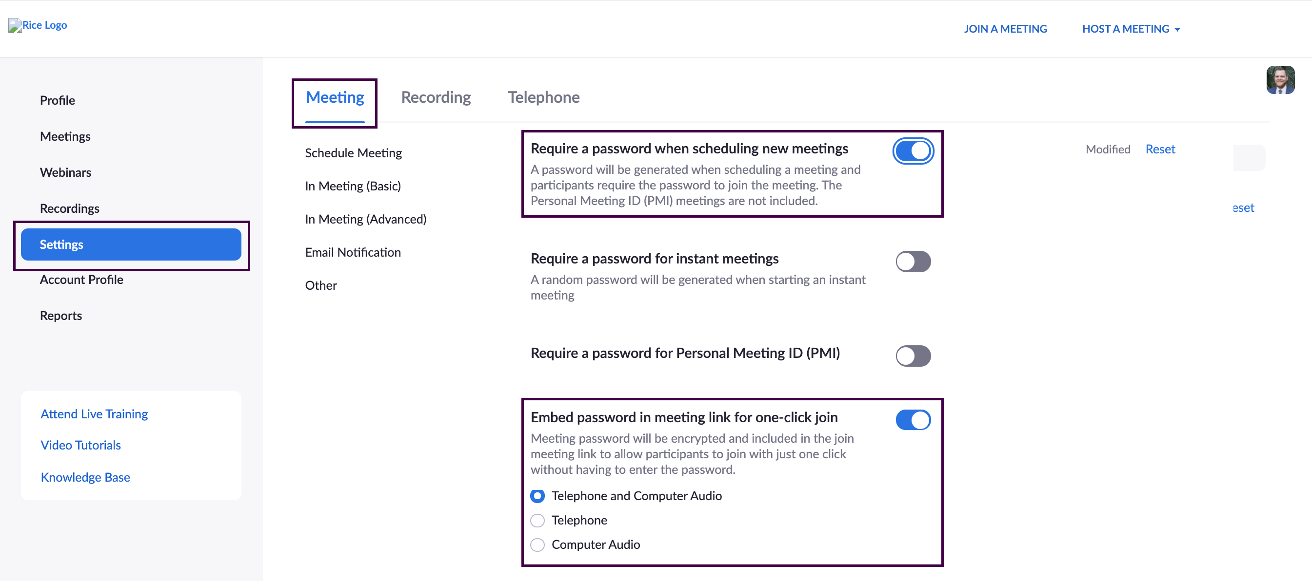 Zoom meeting settings with 'Require a password' and 'Embed password' options enabled.