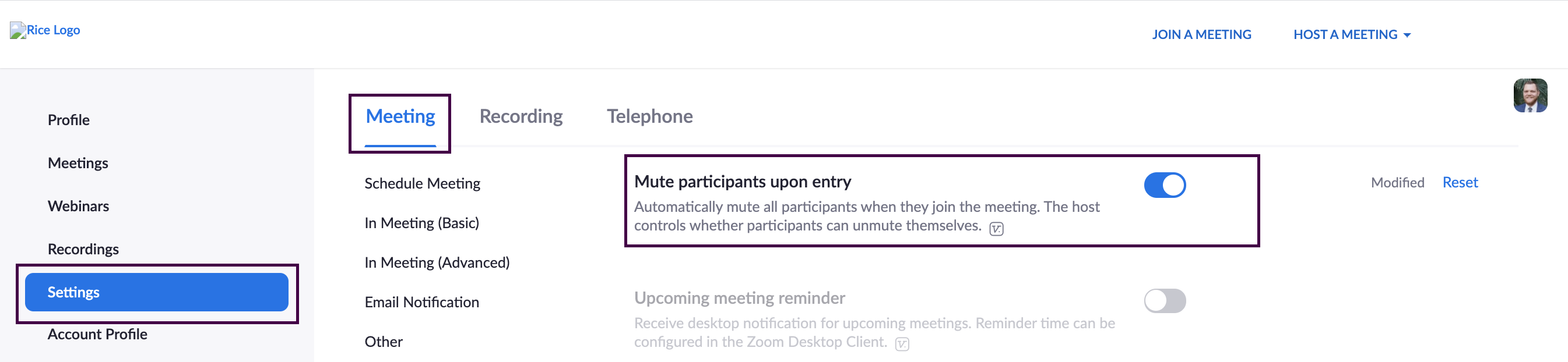 Zoom meeting settings with 'Mute participants selected.