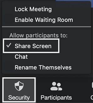 Zoom 'Security' button menu with 'Share Screen' selected.