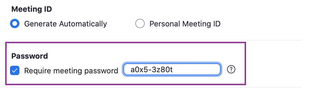 Zoom meeting settings with strong password.